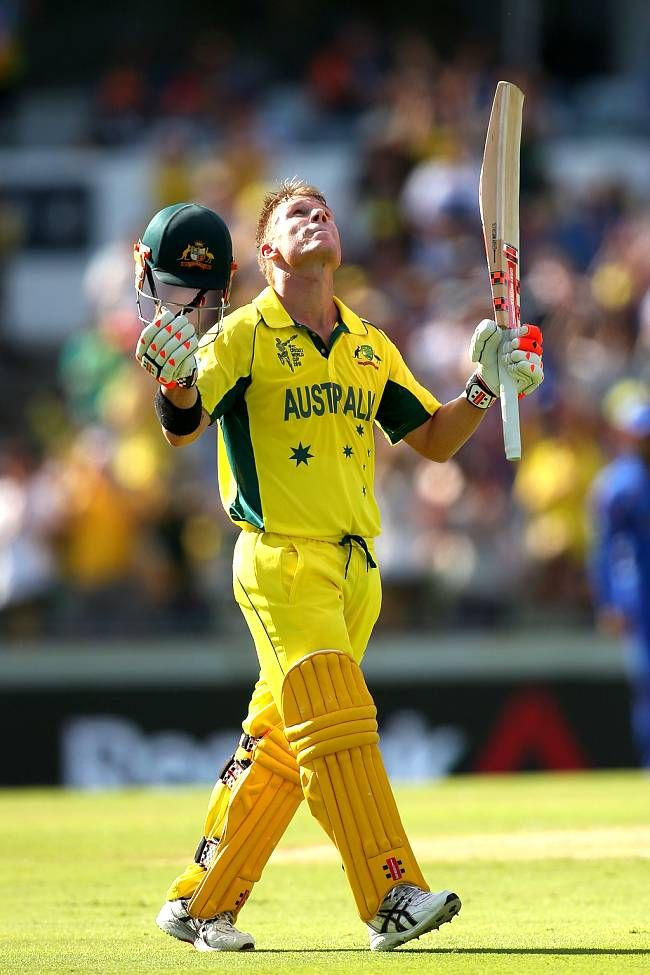 David Warner celebrates after registering his maiden World Cup ton.Australia vs Afghanistan, 26th Match, Pool A