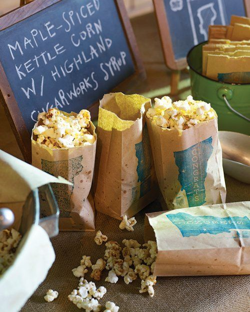 Maple-Spiced Kettle Corn:  Maple-Spiced Kettle Corn: Offer maple-spiced kettle corn to guests in decorated paper bags for a salty-sweet snack. Pure maple sugar lends depth and a robust sweetness to this salty-sweet snack. Servings: 6
