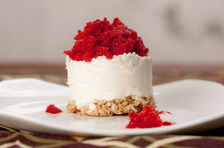 Goat Cheese with Strawberry Granita and a Pretzel Crust - a fun recipe for a Valentine's Day amuse bouche OR dessert. From http://herbivoracious.com/
