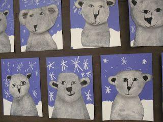 Polar Bears using white chalk on black paper! So smart