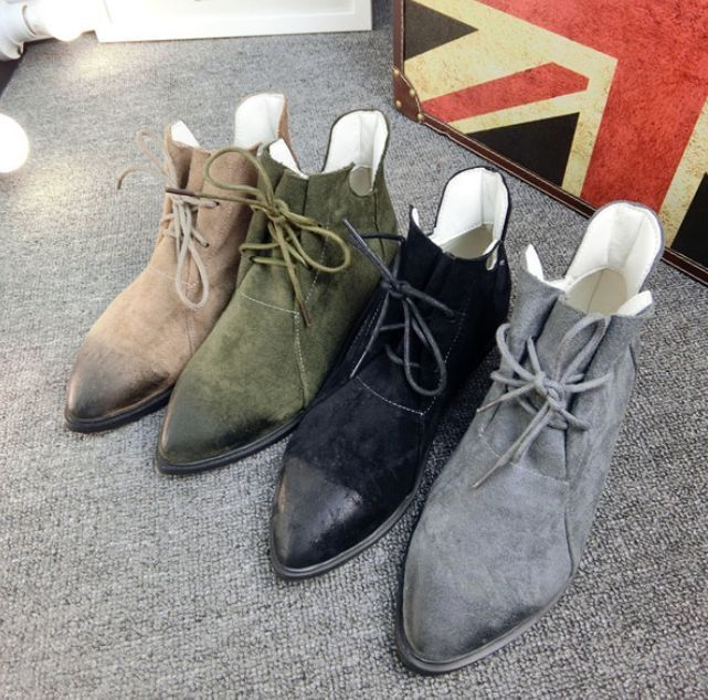Hot !!!Womens Pointed Toe Lace Up Shoes Flat Ankle Boots Suede Korean Motorcycle