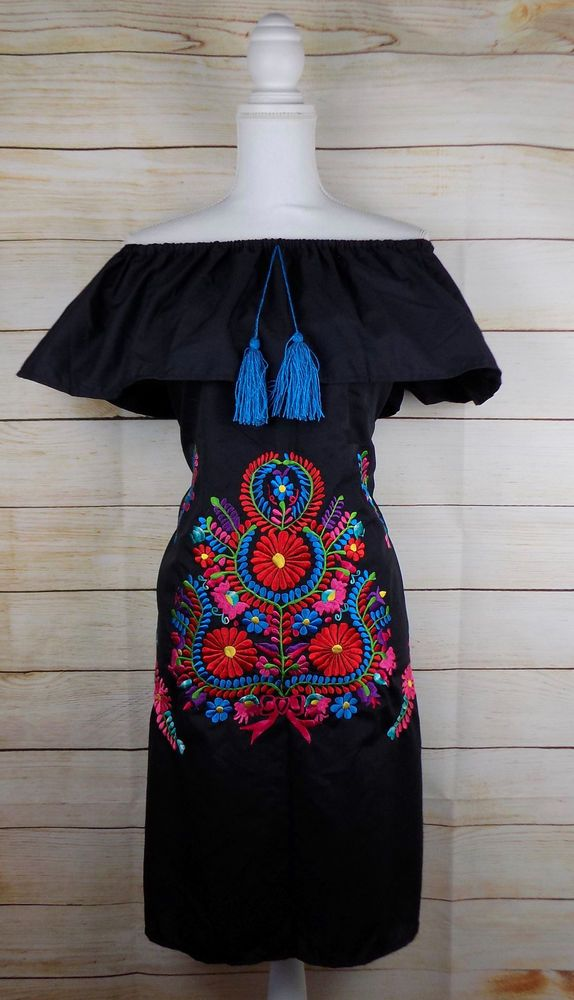 4111a8dc4392f Womens Extra Large Black Mexican Dress Embroidered Off the Shoulder Peasant  #Handmade #OfftheShoulderDressPeasantDressEmbroideredDressMexicanDress