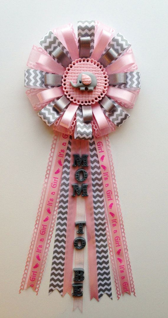 Baby Elephant Theme Gray Chevron and Pink Mom to by LezlieZDesigns, $24.00