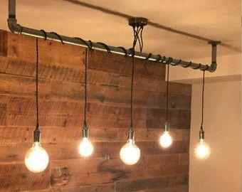 5 Pendelleuchte - wickeln Sie einen Stock oder Rohr-rustikale Kronleuchter Pendelleuchte - jede kundenspezifische Längen und Farben - Holz Speisesaal Kronleuchter