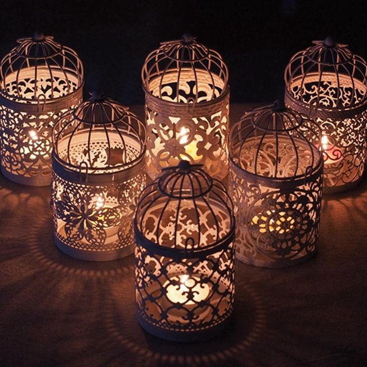 Fityle Hollow Out Birdcage Votive Tea Light Holder Candle