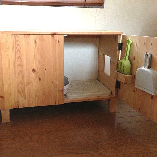 の自作猫トイレ/手作り家具/バス/トイレについてのインテリア実例を紹介。(この写真は 2012-09-25 14:36:43 に共有されました)
