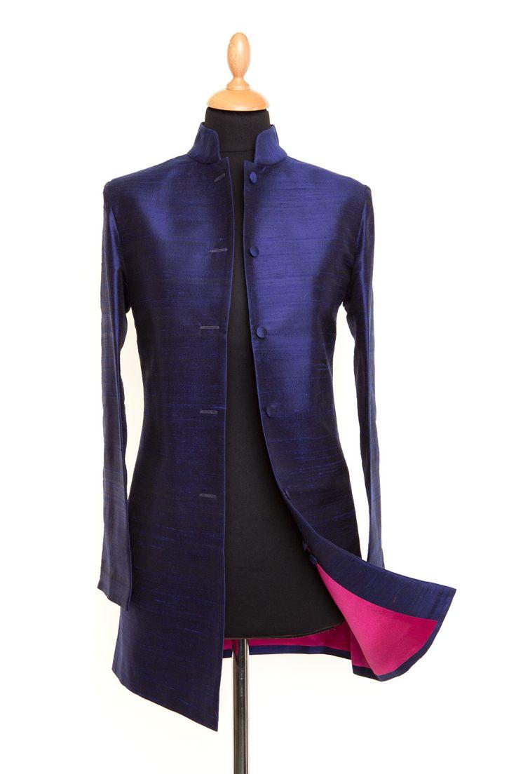 Midnight blue silk makes a sleek-lined Nehru jacket superb.