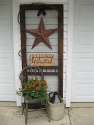 Creative ideas for storm door vignette in the garden.