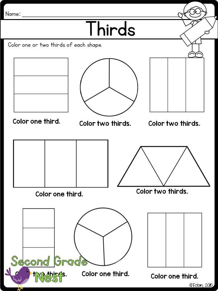 fractions worksheet printable thirds g 3 math pinterest fractions worksheets worksheets. Black Bedroom Furniture Sets. Home Design Ideas