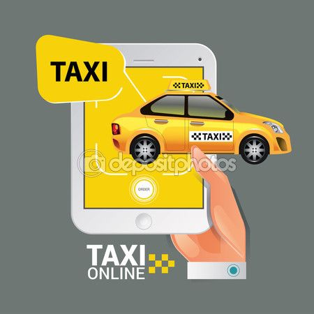 Vector illustration of a taxi service concept. Smartphone and touchscreen — Stock Vector © kupritz #123015964