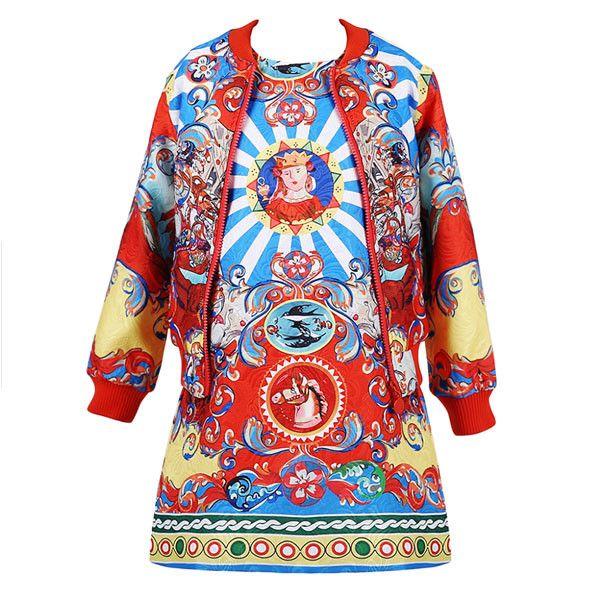 Girls Boutique Designer Tracksuit (Coat+dress) Kids Dress