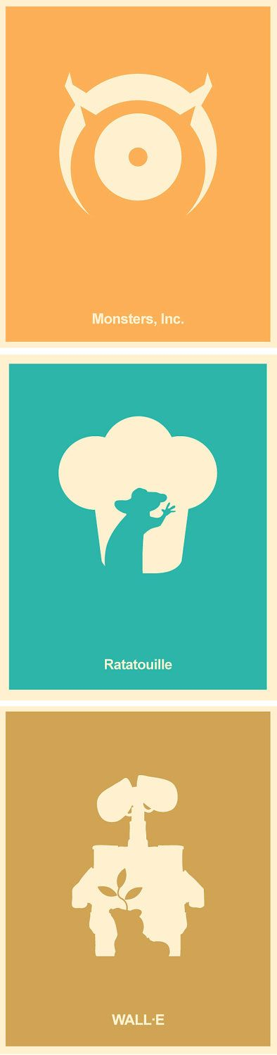 Pixar Minimalist Poster Set - Monsters Inc, Wall-E, Ratatouille