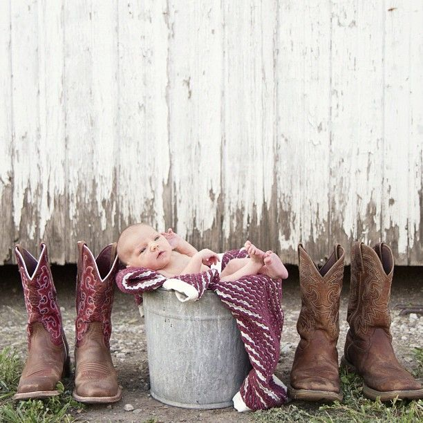 Love this newborn shot with Mom and Dad's boots at the farm, so personal :)