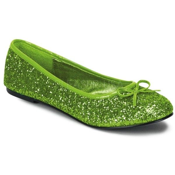 Lime Green Glitter Ballet Flat Shoes ❤ liked on Polyvore featuring shoes, flats, ballerina flat shoes, skimmer shoes, lime green flats, lime green ballet flats and lime green shoes
