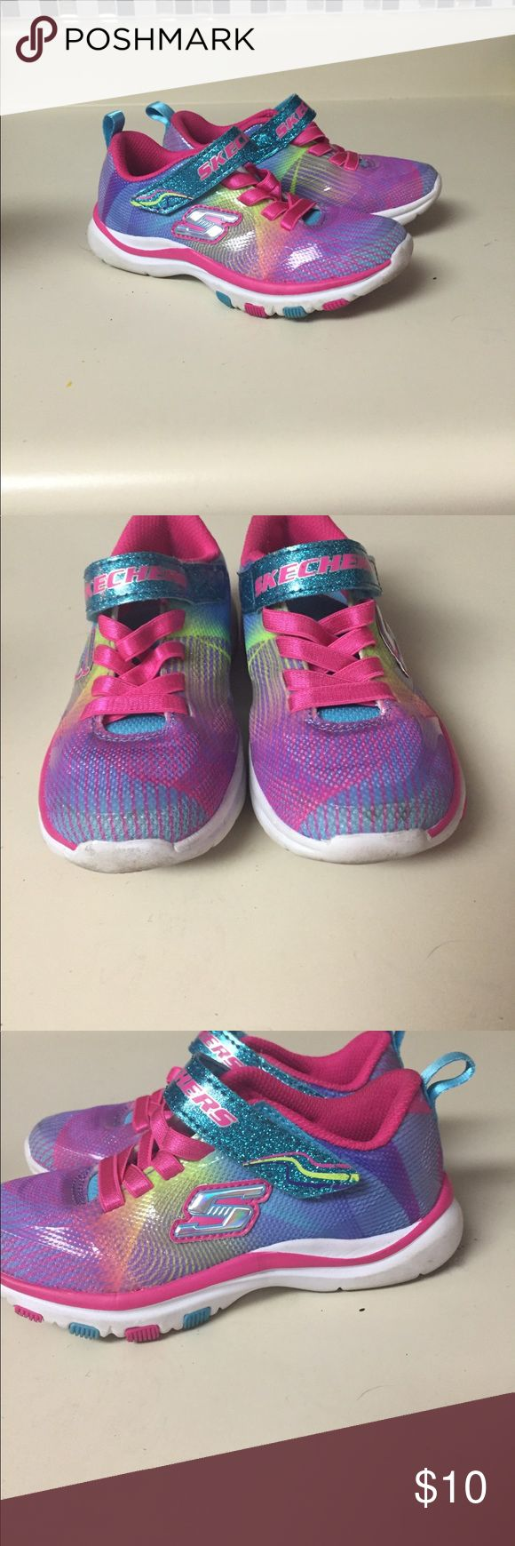 Skecher size 10.5 colorful sneakers slip on Cute girls sneakers. Sketchers size 10.5. Great condition. Shows some wear on sole Skechers Shoes Sneakers