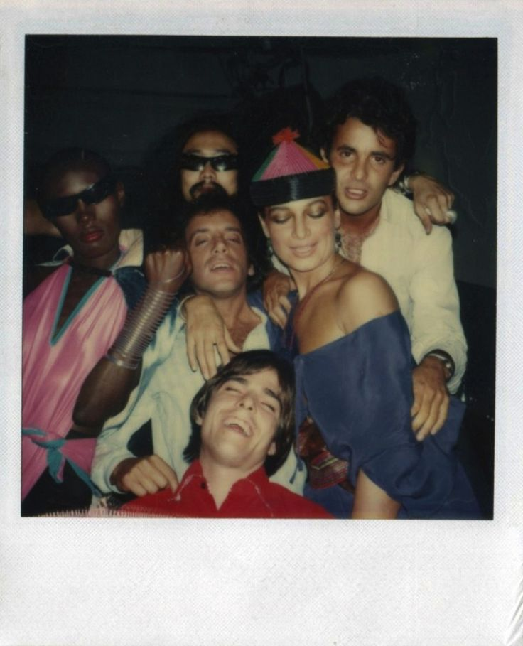polaroid of grace jones and steve rubell by andy warhol at