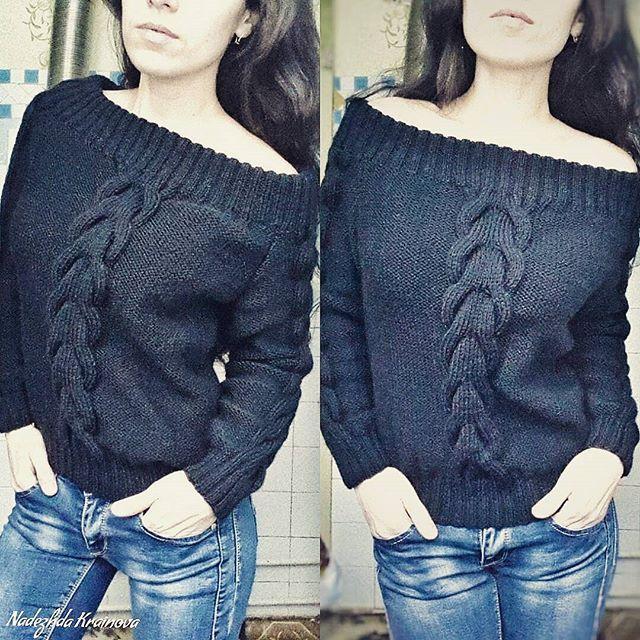 Моднявый свитер на одно плечо. Можно одевать и на оба плеча , как вам угодно )На Мастерская 🌼Nadin🍁Вязаные вещи on Instagram