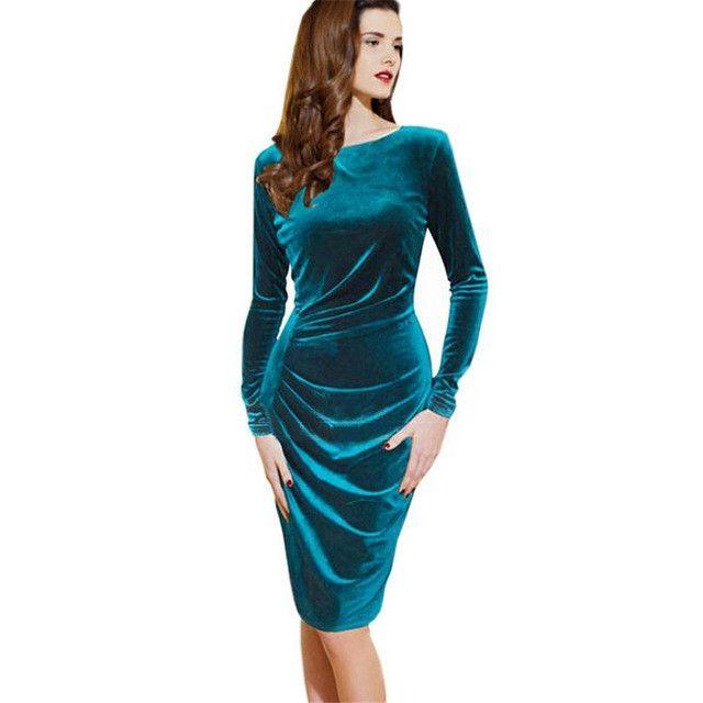 Women Spring Dress Pure Color Soft Casual Gold velvet Dresses Long Sleeve  Casual Sexy Line Vestidos