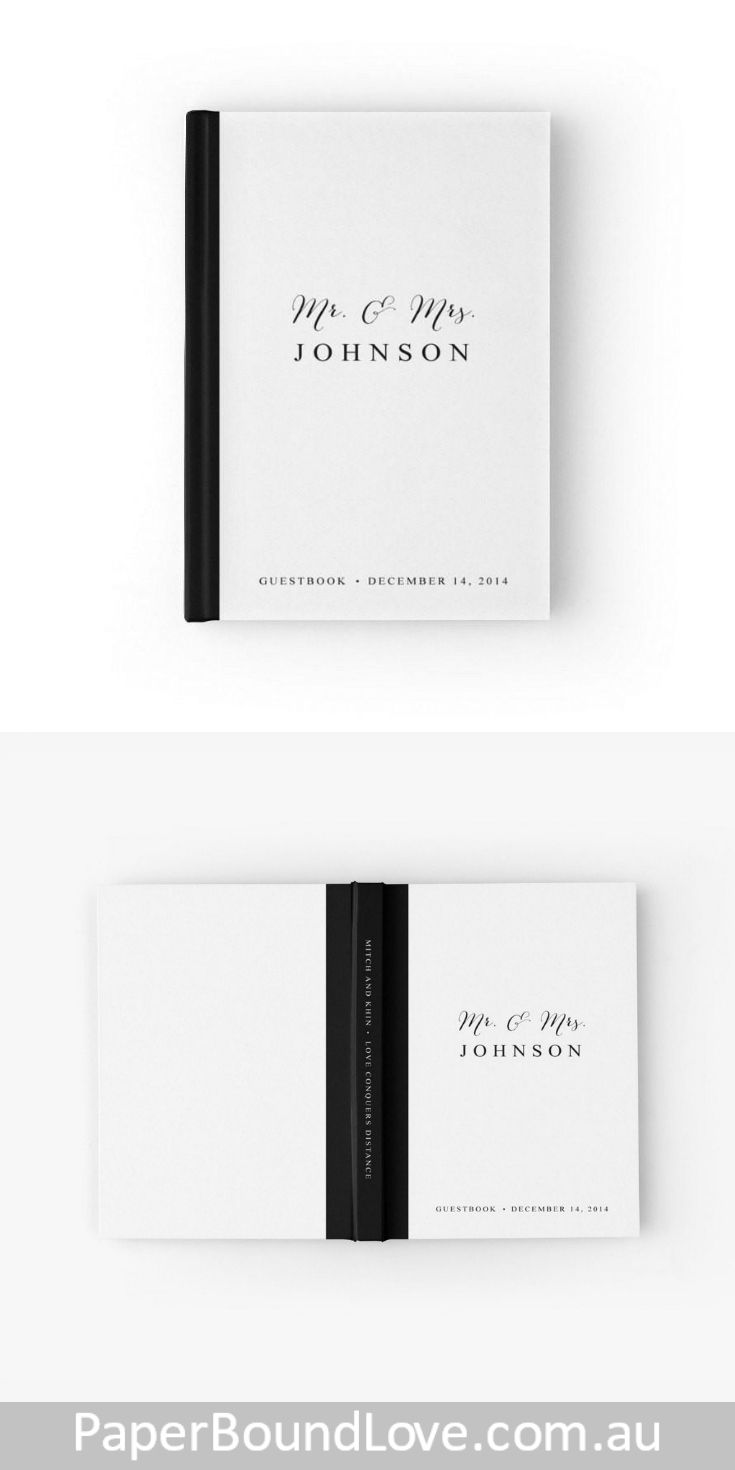 Mr & Mrs | Black & White Wedding Guest Book by PaperBoundLove