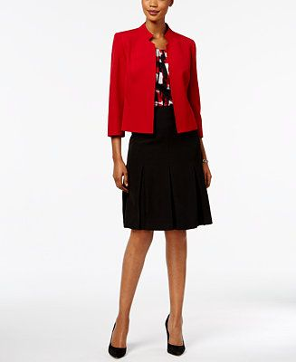 Kasper Stand-Collar Blazer, Pleated Shell & Pleated Skirt - Suits & Suit Separates - Women - Macy's