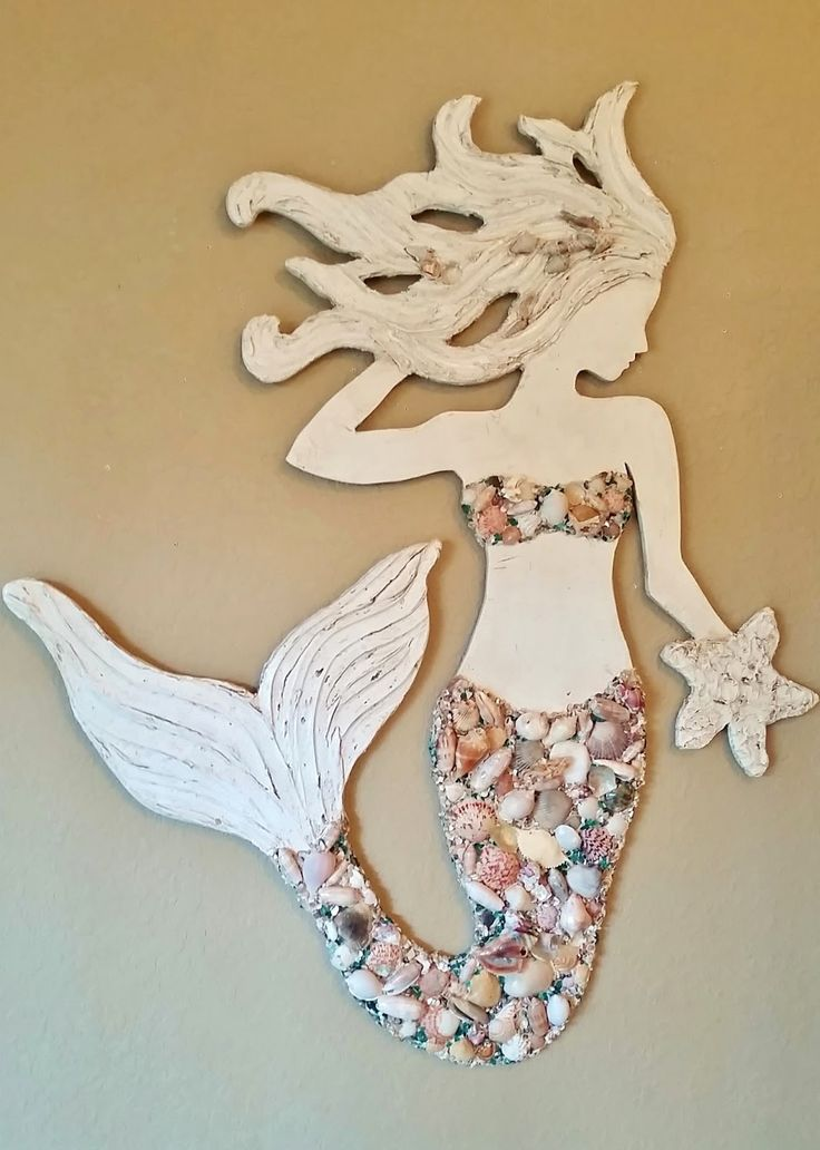 Mermaid Wall Art New Design, Wood Mermaid Vertical Style Beach Art, Two Sizes with Sea Shells and Glass | Lucy Designs
