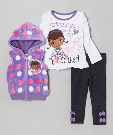 Take a look at this Purple Polka Dot Doc McStuffins Leggings Set - Toddler by Children's Apparel Network on #zulily today!