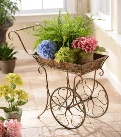 Antique Bronze Cart Plant Stand #kirklands #vintagechic #plantstand