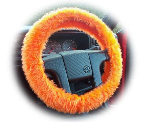 Tangerine faux fur Orange Fuzzy car steering wheel cover fluffy...