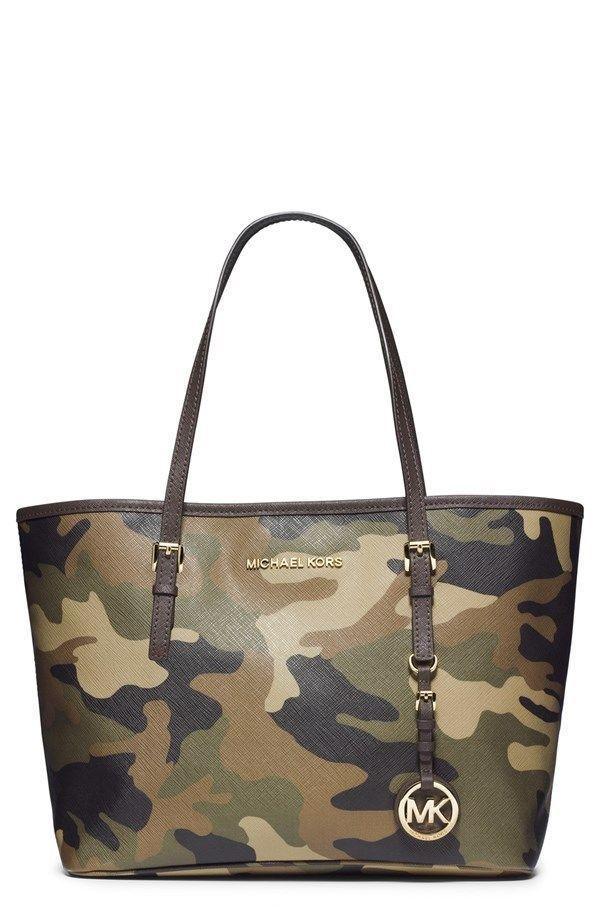 Michael Kors Handbag Camo Army Small Jet Set Travel Tote Women Purse Stylish #MichaelKors #TotesShoppers