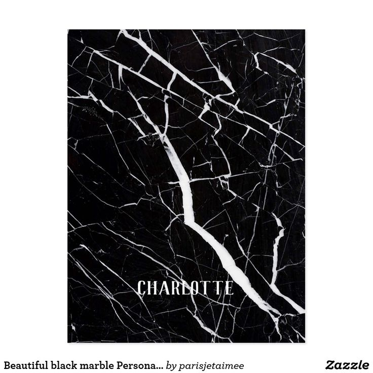 Beautiful black marble Personalized Name Postcard #marble #personalized #monogram #postcard