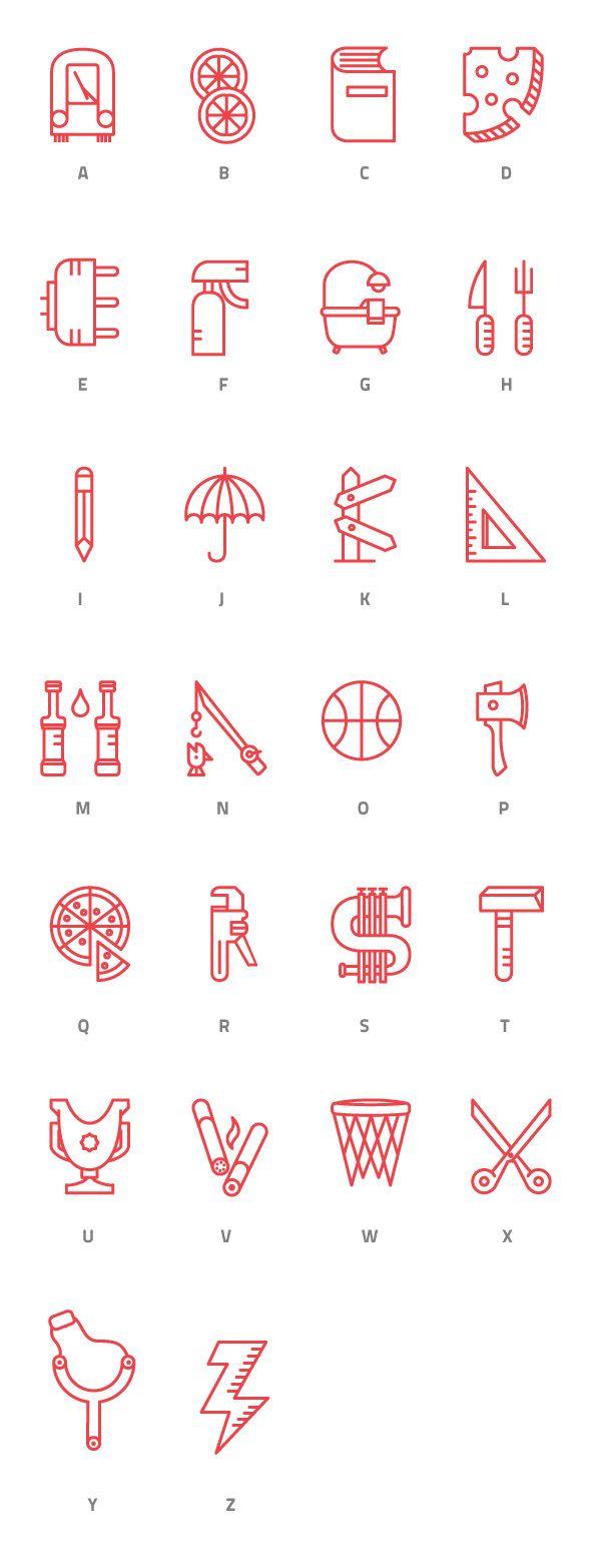 Symbol alphabet, carattere iconografico by Giuseppe De Luca, via Behance