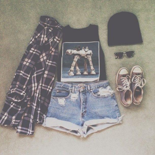 tank top hipster indie grunge soft grunge high waisted shorts tank tops flannel black converse grunge outfits hipster outfits tumblr tumblr clothes shirt shorts t-shirt jacket style checkerd