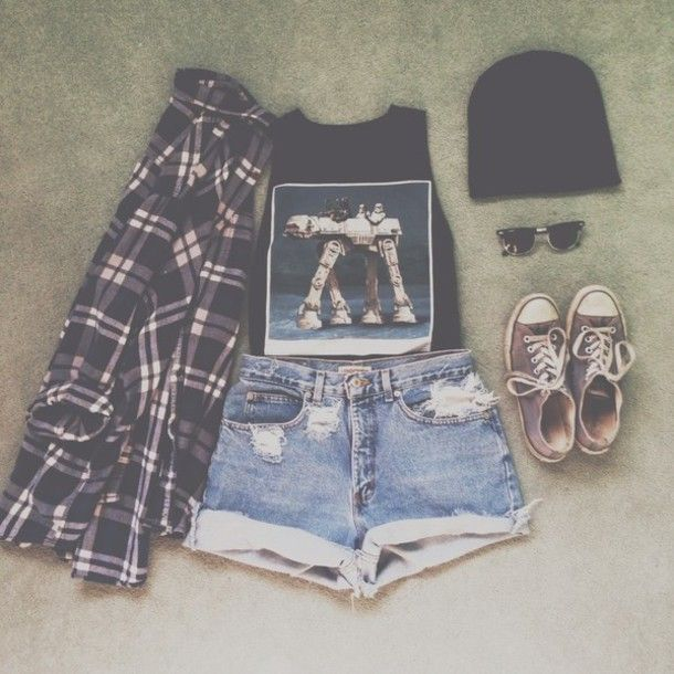 tank top hipster indie grunge soft grunge high waisted shorts tank tops flannel black converse grunge outfits hipster outfits tumblr tumblr clothes shirt shorts t-shirt jacket style checkerd