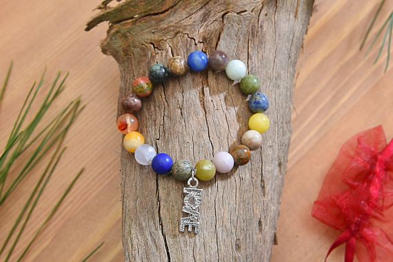 Earth Stone Beads & Love Charm Bracelet Natural Stone