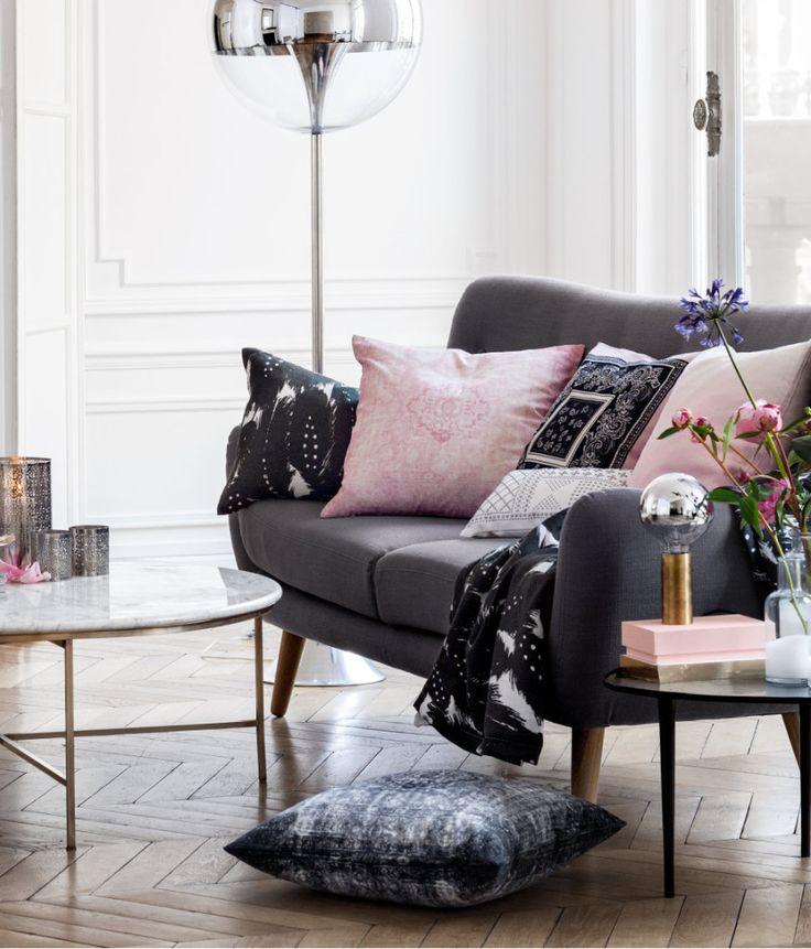 Grått och rosa i vardagsrummet. Inspiration från HM home.