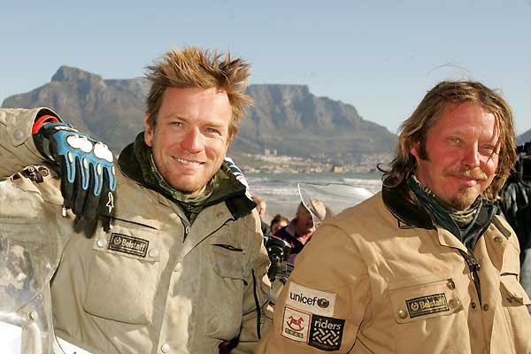 "ewan mcgregor and charlie boorman: they road around the world in the motorcycle documentary ""long way round"" and down from scotland to s. africa in ""long way down"".  2 amazing series!"