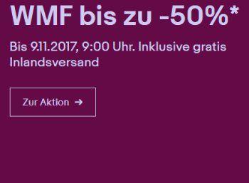 Ebay: WMF-Sale mit Gratis-Versand und zehn Prozent Sonder-Rabatt https://www.discountfan.de/artikel/technik_und_haushalt/ebay-wmf-sale-mit-gratis-versand-und-zehn-prozent-sonder-rabatt.php Noch bis Donnerstag morgen sind bei Ebay WMF-Artikel zu deutlich vergünstigten Preisen zu haben. Wer drei Artikel kauft, erhält nochmals zehn Prozent Rabatt obendrauf. Ebay: WMF-Sale mit Gratis-Versand und zehn Prozent Sonder-Rabatt (Bild: Ebay.de) Der WMF-Sale bei Ebay läuft bis Donne