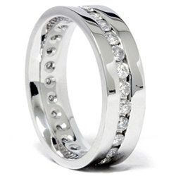 Mens 1.25CT Diamond Wedding Eternity Ring 14K White Gold 6MM Comfort Fit Channel Set Band Size (7-12)