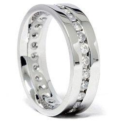 Mens 125CT Diamond Wedding Eternity Ring 14K White by Pompeii3