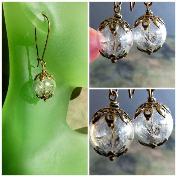 Dandelion earrings Seeds jewelry Botanical by FlowerGiftByNature