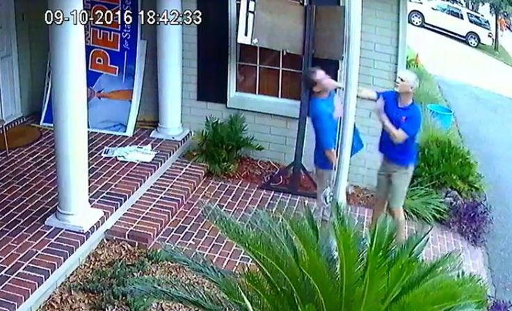 In Gainsville FL, GOP Senate candidate KEITH PERRY assaults local over Perry's campaign sign placement.