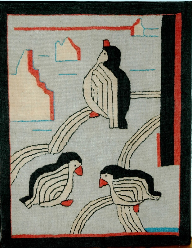 Three Penguins Or Maybe Puffins Cotton Provenance Dr Naomi Graves Rug Hookingpenguinsinstagram