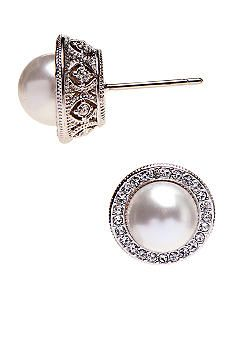 Nadri Formed Pearl Stud Earring