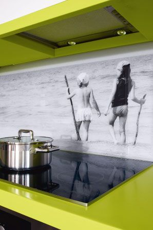 Personalised photo back splash... great idea... but unless you can refurbish your kitchen frequently you'd have to use a photo your really LOVE, and one that your kids won't mind EVERYONE seeing!