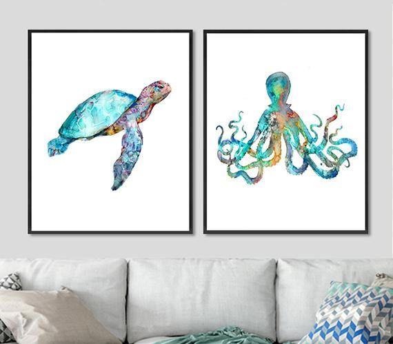 Hammerhead Shark Art Watercolor Painting Ocean Animal Prints