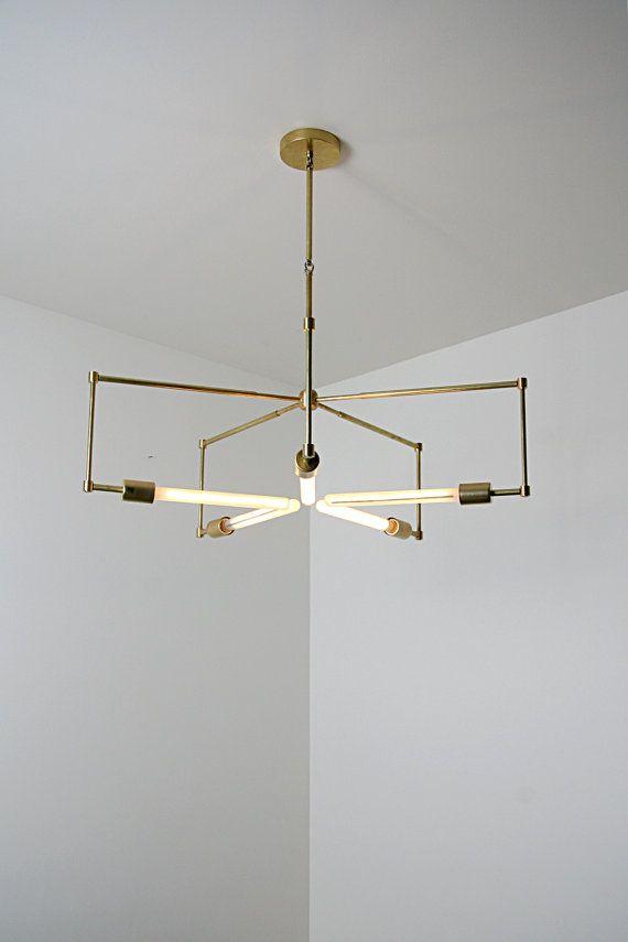 handmade brass pendant light fixture - 'asterix'