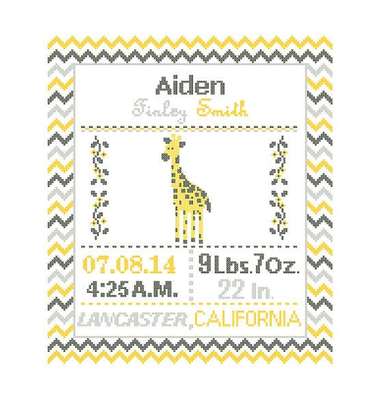Custom Pattern Cross Stitch Birth Announcement by ZindagiDesigns
