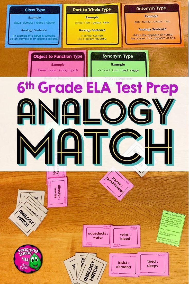 ELA Test Prep ANALOGY MATCH Card Game 6th Grade FSA AIR in