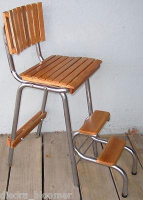 Oak Wood Wooden Step Stool 1950u0027s Retro Kitchen Booster Chair Chrome