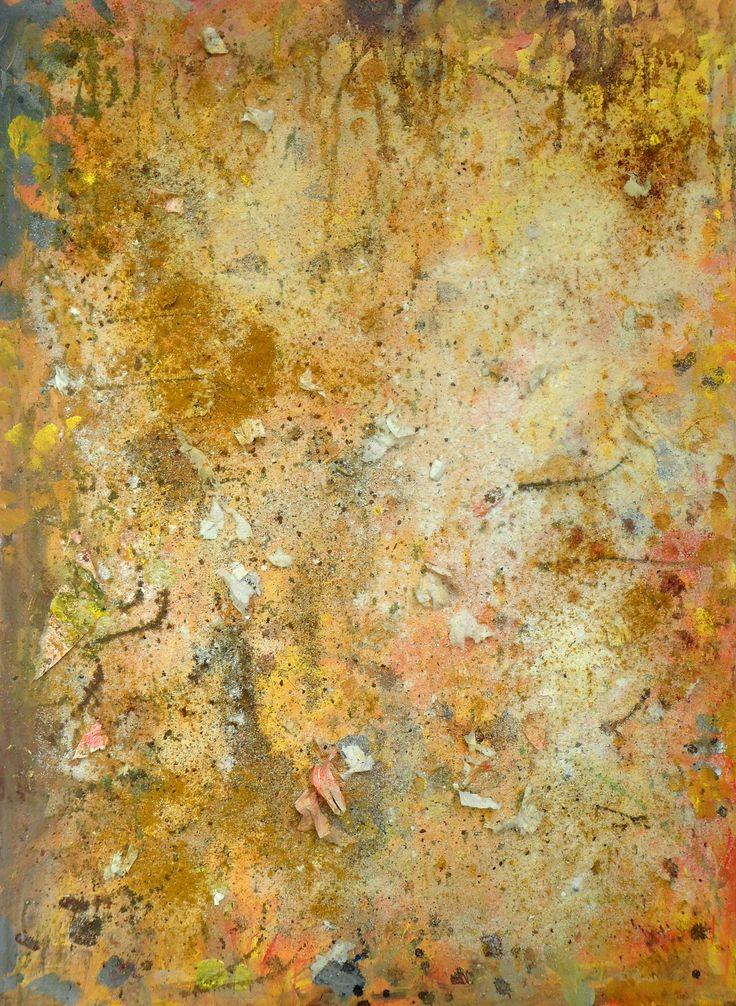TASTY PAINTS Acrylics, pepper, curry, sugar, salt, potato flavour, spices, baking soda, lemon pepper, cocoa, coffee, hair spray on wood. 62 x 82 cm 2014 GEDVIL XX